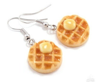 Scented Waffle Earrings, Miniature Food Earrings, Waffle Jewelry, Breakfast Earrings, Food Jewelry, Food Earrings, Valentine's Day Gift