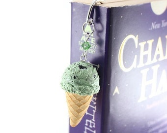 Bookmark ~ Mini Chocolate Chip Scented Ice Cream cone ~ Unique present for College Student, Daughter Birthday, Mother Day gift idea