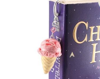 Food Jewelry Scented Very Berry Strawberry Ice-Cream Bookmark Kawaii Polymer Clay Waffle Cones Miniature Delightfully Tasty Treat