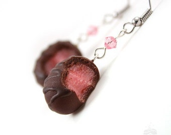 Food Jewelry Scented Cherry Chocolate Truffle Earrings Kawaii Cute Polymer Clay Miniature Super Sparkly Birthday Present