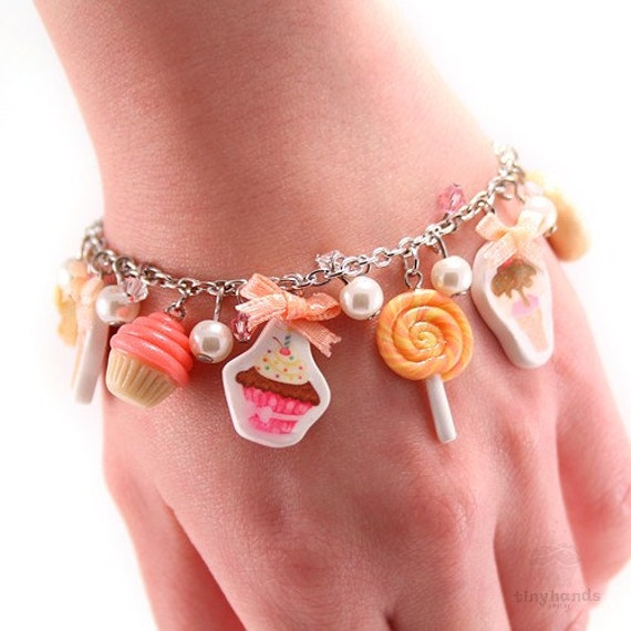 Food Jewelry Scented Charming Candies Bracelet Cupcake, Ice-Cream, Lollipop, Butter & Maple Syrup Waffle Polymer Clay Charm Donut Miniature