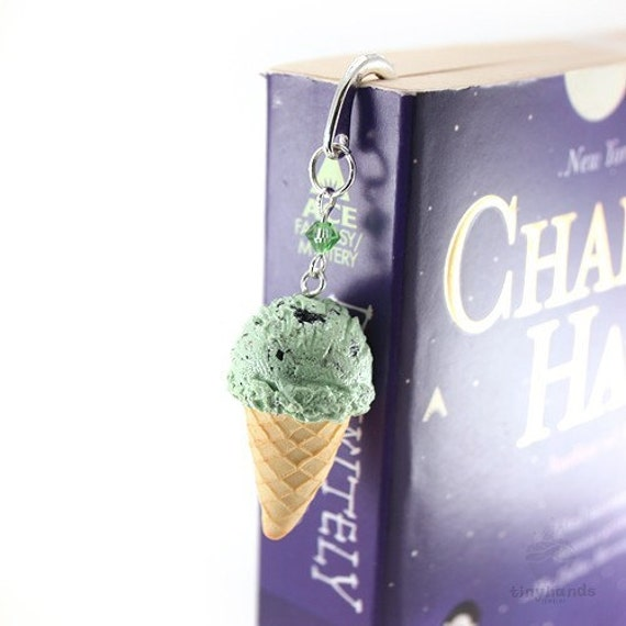 Bookmark ~ Mini Chocolate Chip Scented Ice Cream cone ~ Unique present for College Student, Daughter Birthday, Mother Day gift idea