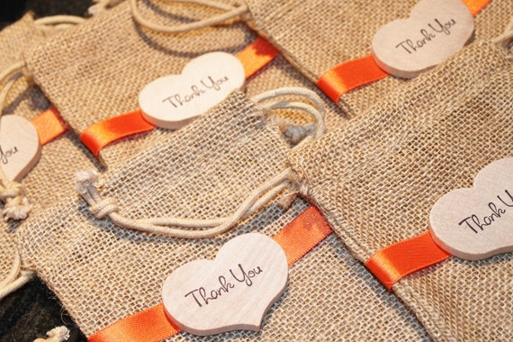 Beach Wedding Gift Bags: Fall Wedding Favors Wood Heart Tag Thank You By