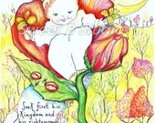 baby rose garden personalized bessing  birth date scripture10 x 8 Print