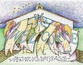 angels welcome names dates added scripture blessing  8.5 x 11 Print