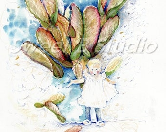 whirly gigs birds fall falling watercolor print whimsical 8 x 10 Print