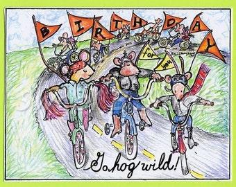 card birthday motorcycle  bicycle hog wild mice 5 by 7