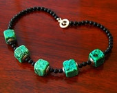 Green Black Necklace, Minimalist Choker, Black Onyx Necklace, Turquoise Silver and Gemstone, Geometric Jewelry, Handmade Jewelry, SRAJD