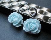 Baby Blue Rosebud Earrings With Gun metal Leverbacks