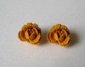 Mustard Yellow Rosebud Earrings
