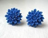 Blue Mum Earrings, Cobalt, Nickel Free