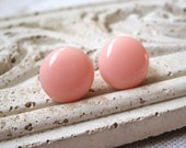 Peach Circle Earrings, Pastel Orange Dots, Light Coral Earrings