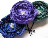 RESERVED for Sarah - Fabric Flower Hair Pins, Satin Fabric, Cobalt Blue, Teal Green, Purple, Jewel Tones, Peacock Wedding