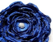 Cobalt Blue Fabric Flower, Blue Fabric Flowers, Silver Beads, Satin Fabric, Bridesmaid, Bridal Accessory - You Pick Brooch or Hair Clip