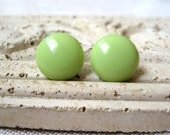 Lime Green Circle Earrings, Pastel Green Dot Stud Earrings