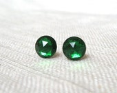 Vintage Emerald Green Earrings, Faceted Jewels, Kelly Green Stud Earrings