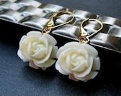 Cream Rose Earrings, Cream Flower Earrings, Rosebud Earrings, Gold Earrings, Bridesmaid Earrings