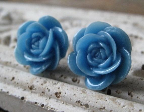 Blue Rosebud Earrings, Sapphire Blue, Blue Flower Earrings, Nickel Free Earrings, Bridesmaid Gift