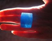 Large Blue Resin Wedge Ring