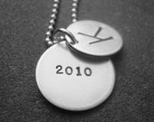 Hand Stamped Jewelry Initial Necklace For the Graduate With Hidden Graduation Year 2013