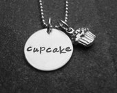 Cupcake Necklace Cupcake Charm Sterling Silver Hand Stamped Personalized Jewelry