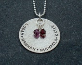 Hand Stamped Jewelry Custom Personalized Birthstone necklace Grandma Mom Push Present