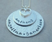 Custom Personalized Jewelry Double Stacked Layered Necklace Sterling Silver Push Present Grandma Mom Jewelry Hand Stamped Jewelry