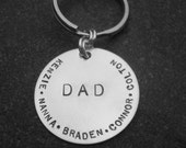 Hand Stamped Personalized Keychain Dad Grandpa Grandma Mom Father's Day Gift