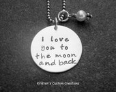 Hand Stamped Personalized Jewelry I Love You To The Moon And Back Necklace Guess How Much I Love You Mother's Day Gift