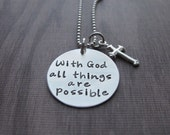 With God All Things Are Possible Necklace Matthew 19:26 necklace Sterling Silver Religious Catechism Gift First Communion