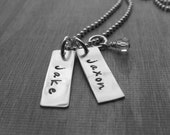 Personalized Two Tag Necklace Sterling Silver Name Tags New Mom Gift Hand Stamped Jewelry