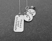 Hand Stamped Jewelry Count Your Blessings Necklace With Two Personalized Initial discs