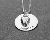 Hand Stamped JewelryThe Inspire Necklace Perfect Gift For A Special Teacher Ready to Ship