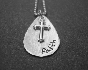 Faith Necklace Sterling Cross Charm Religious Jewelry Inspirational Jewelry Hand Stamped Jewelry Ready to ship