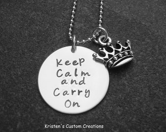 Hand Stamped Jewelry Keep Calm and Carry On Necklace Ready to Ship