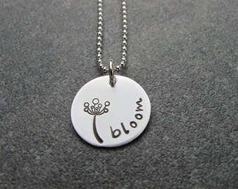 Bloom Sterling Silver Flower necklace Hand Stamped Jewelry Ready to ship