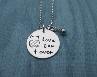 Owl Love you forever Hand Stamped Necklace Love You Forever Owl Stamp Pink Pearl Valentine Gift Anniversary Ready to ship