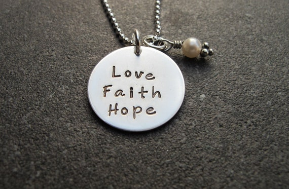 Items similar to love faith hope necklace sterling silver for Faith hope love jewelry