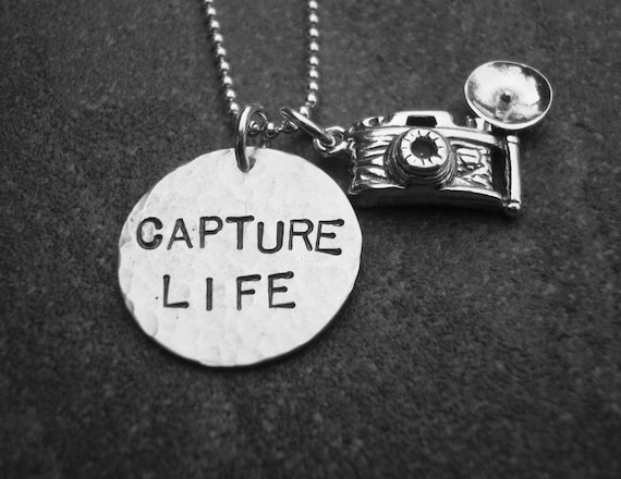 Capture Life Necklace Photographer Camera Charm  Hand Stamped Jewelry by Kristen's Custom Creations