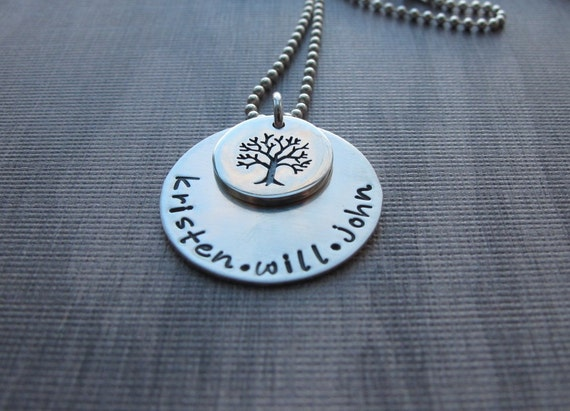 Hand Stamped Medium Family Tree Necklace Limited Edition