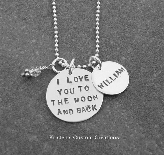 I Love You To The Moon And Back Necklace With Personalized Name Disc