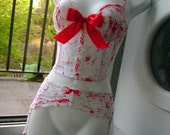 zombie bride wedding suspenders BLOOD SPLATTERED white lace suspender belt bridal halloween costume 41 - 43 inch hip