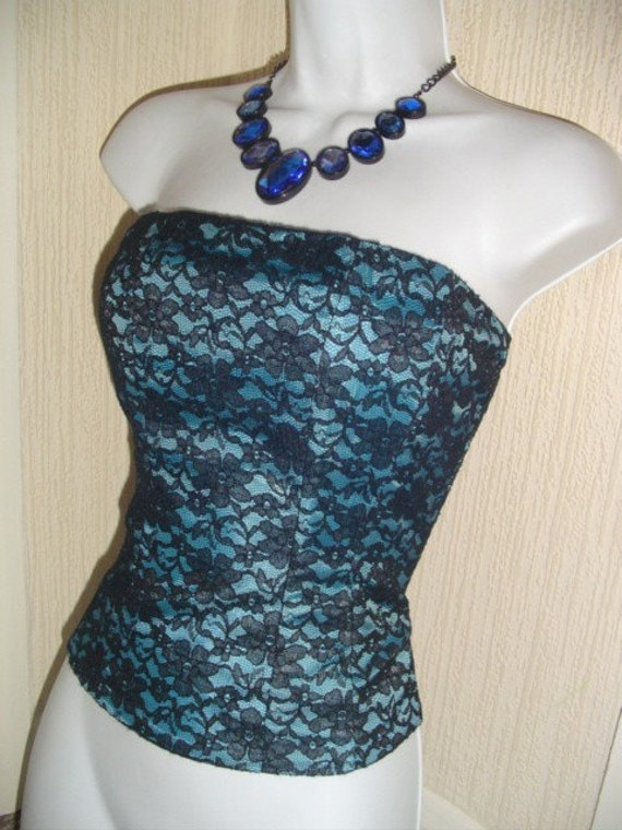marilyn 1950s MOVIE STAR vintage 80's turquoise n black lace boned corset basque 34 - 36 inch bust