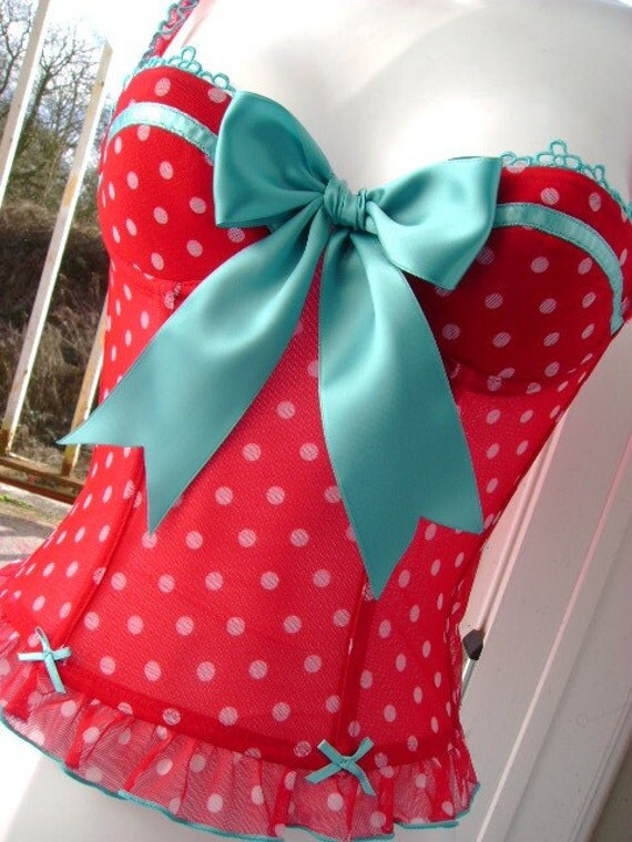 pin up gal red N white POLKA dot and turquoise big bow boned CORSET basque 36 - 38 inch bust