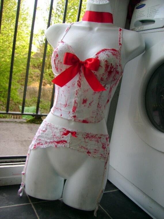 zombie bride wedding suspenders BLOOD SPLATTERED white lace suspender belt bridal halloween costume 41 - 43 inch hip