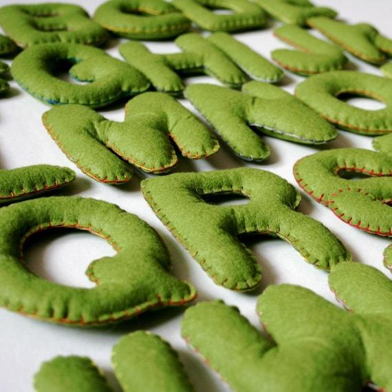 Large Stuffed Felt Letters - Alphabet Set - Upper Case Olive Green Letters