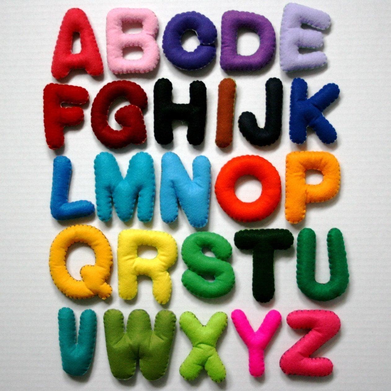 Large Multi Color Alphabet Set 26 Stuffed Felt Letters