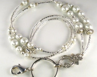 Beaded Lanyard JASMINE glass id badge holder - white pearls