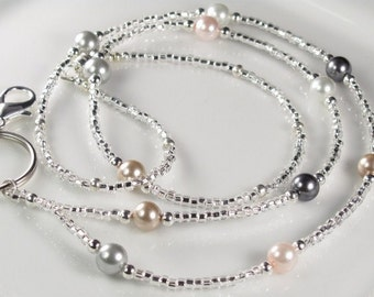 Classic Beaded Lanyard, MADEMOISELLE Neutral Colors lanyard, Pearls and Glass ID Badge Holder