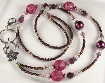 Purple Fuschia Beaded Lanyard, Fancy Id Badge Holder, Breakaway lanyard, magnetic clasp
